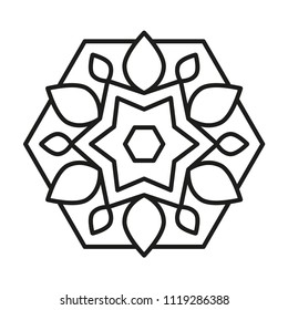 Simple Mandala. Vector Lines.