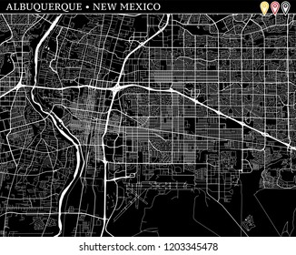 Simple map of Albuquerque, New Mexico, USA. Black and white version for clean backgrounds and prints. This map of Albuquerque contains three markers who are grouped and can be moved separately