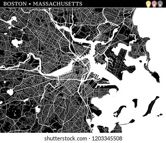 Simple map of Boston, Massachusetts, USA. Black and white version for clean backgrounds and prints. This map of Boston contains three markers who are grouped and can be moved separetly
