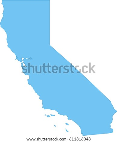 Simple Map California Stock Vector Royalty Free 611816048