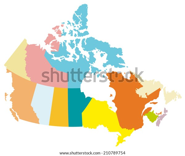 Simple Map Of Canada.Simple Map Canada Stock Vector Royalty Free 210789754