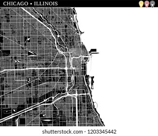 Simple map of Chicago, Illinois, USA. Black and white version for clean backgrounds and prints. This map of Chicago contains three markers who are grouped and can be moved separetly in vector version.