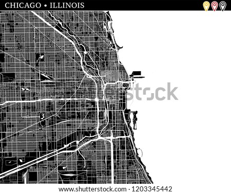 Simple Map Chicago Illinois USA Black Stock Vector (Royalty Free ...