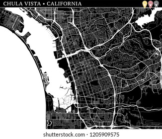 Simple map of Chula Vista, California, USA. Black and white version for clean backgrounds and prints. This map of Chula Vista contains three markers who are grouped and can be moved separetly