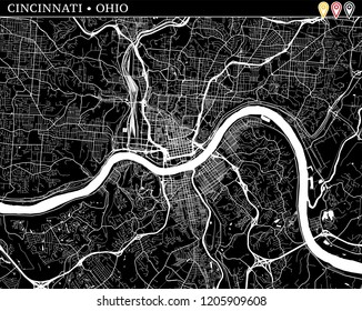 Simple map of Cincinnati, Ohio, USA. Black and white version for clean backgrounds and prints. This map of Cincinnati contains three markers who are grouped and can be moved separetly