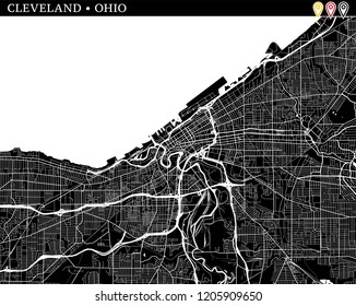 Simple map of Cleveland, Ohio, USA. Black and white version for clean backgrounds and prints. This map of Cleveland contains three markers who are grouped and can be moved separetly in vector version.