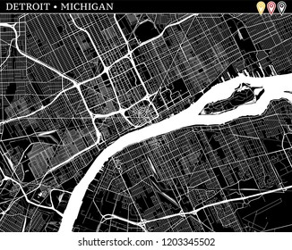 Simple map of Detroit, Michigan, USA. Black and white version for clean backgrounds and prints. This map of Detroit contains three markers who are grouped and can be moved separetly in vector version.