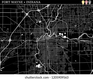 Simple map of Fort Wayne, Indiana, USA. Black and white version for clean backgrounds and prints. This map of Fort Wayne contains three markers who are grouped and can be moved separetly
