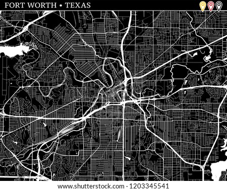 Simple Map Fort Worth Texas USA Stock Vector (Royalty Free ...