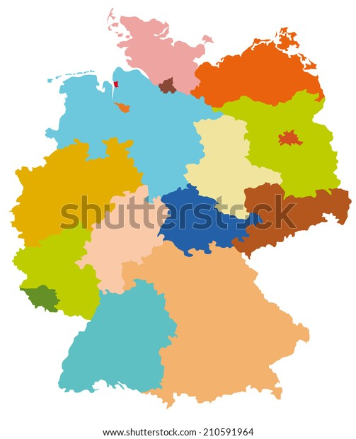 Simple Map Of Germany.Simple Map Germany Stock Vector Royalty Free 210591964