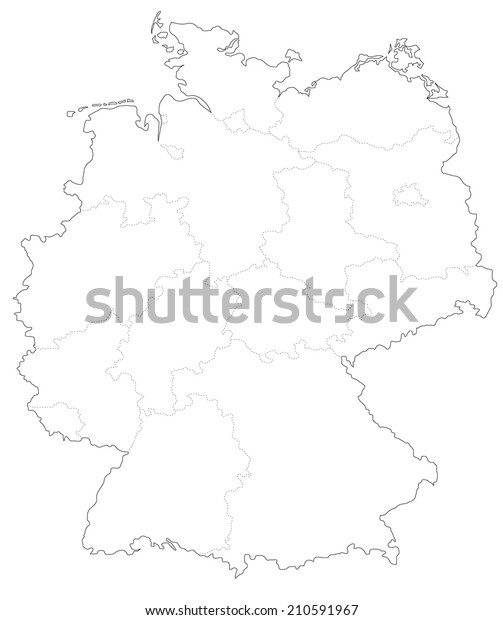 Simple Map Of Germany.Simple Map Germany Stock Vector Royalty Free 210591967