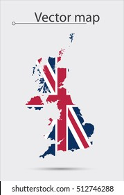 Simple Map Of Great Britain With Flag As Texture Isolated On Grey Background. Vector Illustration