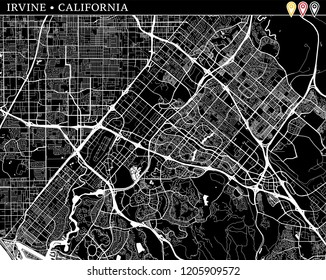 Simple map of Irvine, California, USA. Black and white version for clean backgrounds and prints. This map of Irvine contains three markers who are grouped and can be moved separetly in vector version.