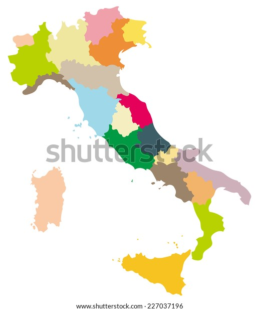 Simple Map Of Italy.Simple Map Italy Stock Vector Royalty Free 227037196