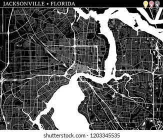 Jacksonville Vector Map Artprint Black Landmass Stock Vector ...
