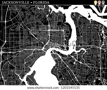 Map Jacksonville Florida.Simple Map Jacksonville Fl Usa Black Stock Vector Royalty Free