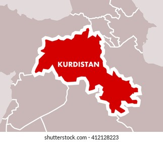 Simple map of Kurdistan as independent state of Kurdish nation. Territory in the middle east on area of Iran, Iraq, Syria and Turkey.
