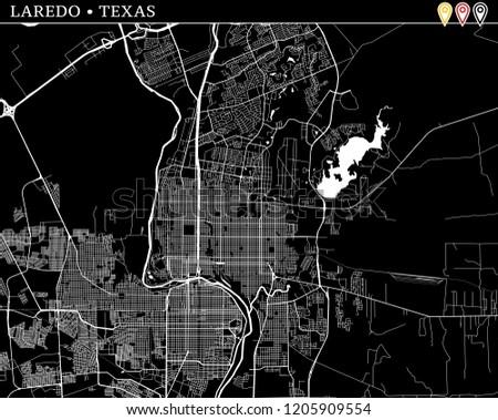 Map Of Texas Showing Laredo.Simple Map Laredo Texas Usa Black Stock Vector Royalty Free
