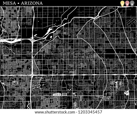 Simple Map Mesa Arizona USA Black Stock Vector (Royalty Free ...