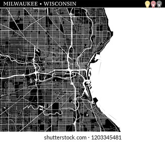 Simple map of Milwaukee, Wisconsin, USA. Black and white version for clean backgrounds and prints. This map of Milwaukee contains three markers who are grouped and can be moved separetly in vector
