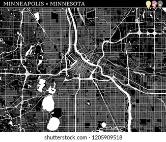 Simple map of Minneapolis, Minnesota, USA. Black and white version for clean backgrounds and prints. This map of Minneapolis contains three markers who are grouped and can be moved separetly in vector