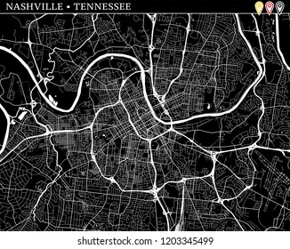 Simple map of Nashville, Tennessee, USA. Black and white version for clean backgrounds and prints. This map of Nashville contains three markers who are grouped and can be moved separetly