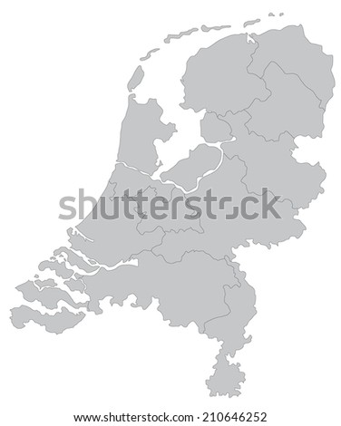 Simple Map Netherlands Stock Vector (Royalty Free) 210646252 ...