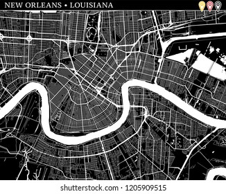 Simple map of New Orleans, Louisiana, USA. Black and white version for clean backgrounds and prints. This map of New Orleans contains three markers who are grouped and can be moved separetly in vector