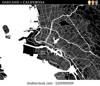 Simple map of Oakland, California, USA. Black and white version for clean backgrounds and prints. This map of Oakland contains three markers who are grouped and can be moved separetly in vector versio