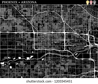 Simple map of Phoenix, Arizona, USA. Black and white version for clean backgrounds and prints. This map of Phoenix contains three markers who are grouped and can be moved separetly in vector version.
