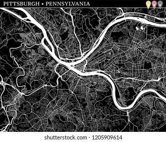 Simple map of Pittsburgh, Pennsylvania, USA. Black and white version for clean backgrounds and prints. This map of Pittsburgh contains three markers who are grouped and can be moved separetly