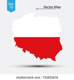 Simple Map Of Poland With Flag Isolated On White Background. Vector Illustration