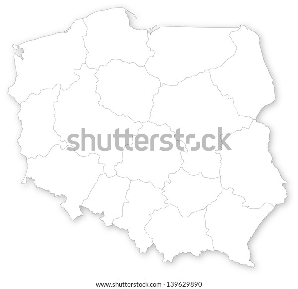 Simple map of Poland with voivodeships on white.