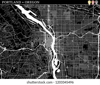 Simple map of Portland, Oregon, USA. Black and white version for clean backgrounds and prints. This map of Portland contains three markers who are grouped and can be moved separetly in vector version.