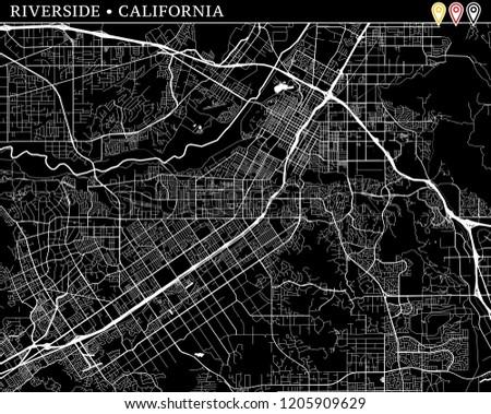 Simple Map Riverside California USA Black Stock Vector (Royalty Free ...