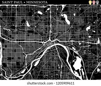 Simple map of Saint Paul, Minnesota, USA. Black and white version for clean backgrounds and prints. This map of Saint Paul contains three markers who are grouped and can be moved separetly