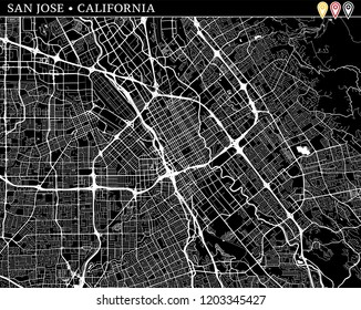 Simple map of San Jose, California, USA. Black and white version for clean backgrounds and prints. This map of San Jose contains three markers who are grouped and can be moved separetly in vector.