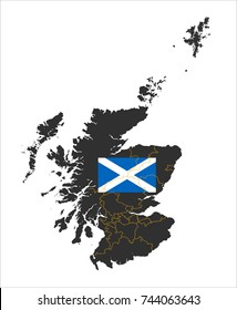 Simple Map Of Scotland With Flag Isolated On White Background.