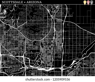 Simple map of Scottsdale, Arizona, USA. Black and white version for clean backgrounds and prints. This map of Scottsdale contains three markers who are grouped and can be moved separetly
