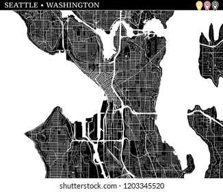 Simple map of Seattle, Washington, USA. Black and white version for clean backgrounds and prints. This map of Seattle contains three markers who are grouped and can be moved separetly