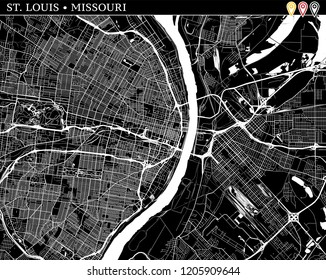 Simple map of St. Louis, Missouri, USA. Black and white version for clean backgrounds and prints. This map of St. Louis contains three markers who are grouped and can be moved separetly