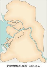 simple map of St.Petersburg in Russia