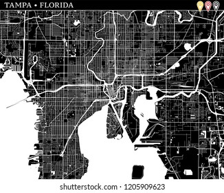 Simple map of Tampa, Florida, USA. Black and white version for clean backgrounds and prints. This map of Tampa contains three markers who are grouped and can be moved separetly in vector version.