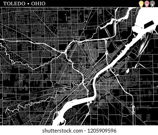 Simple map of Toledo, Ohio, USA. Black and white version for clean backgrounds and prints. This map of Toledo contains three markers who are grouped and can be moved separetly in vector version.