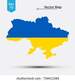Simple Map Of Ukraine With Flag Isolated On White Background. Vector Illustration