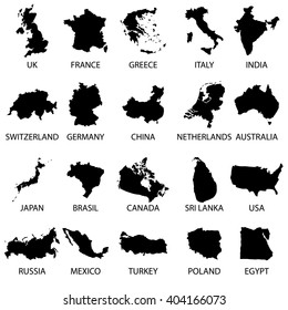 simple maps of different country collection eps10