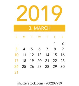 Simple March 2019 calendar. Week starts from Sunday.