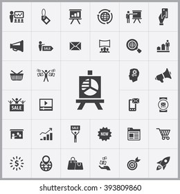 Simple marketing icons set. Universal marketing icons to use for web and mobile UI, set of basic UI marketing elements