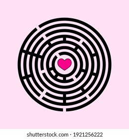 Simple maze template. Logic game for kids. Isolated circle labyrinth.  Find right way. Riddle vector illustration.