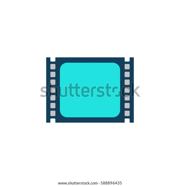 Simple Media player. Color symbol icon on white background. Vector illustration